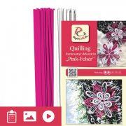 Pink-Weiß - Quilling Muster (200 Stück Streifen und Beschreibung mit Bilder)