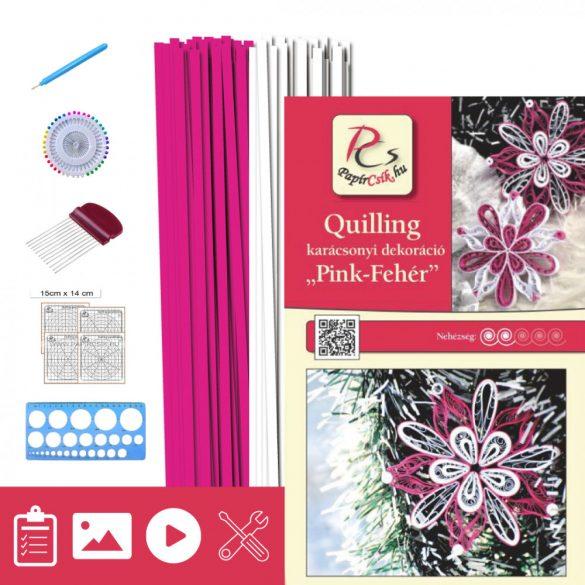 Pink-Fehér - Quilling minta (200db csík 10db mintához, leírás, eszközök)