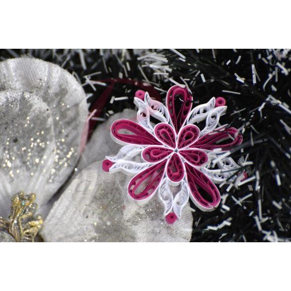 Pink-Fehér - Quilling minta (200db csík 10db mintához és leírás képekkel)