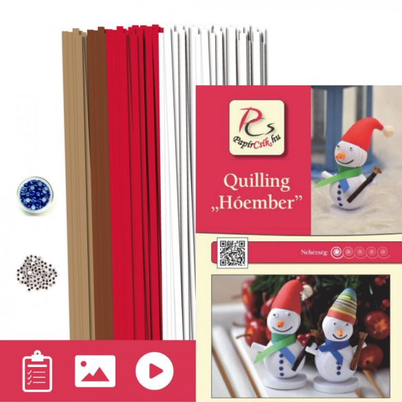 Hóember - Quilling minta (260db csík 6db mintához és leírás képekkel)