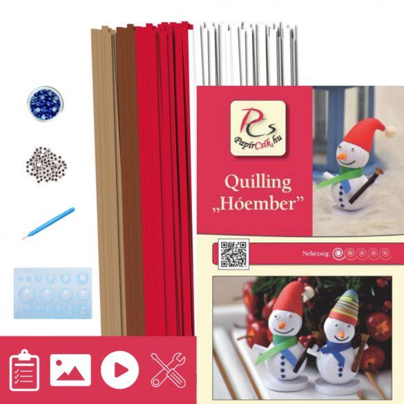 Hóember - Quilling minta (260db csík 14db mintához, leírás, eszközök)