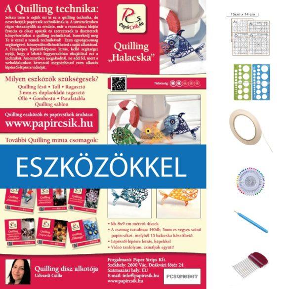 Halacskák - Quilling minta (140db csík 15db mintához, leírás, eszközök)
