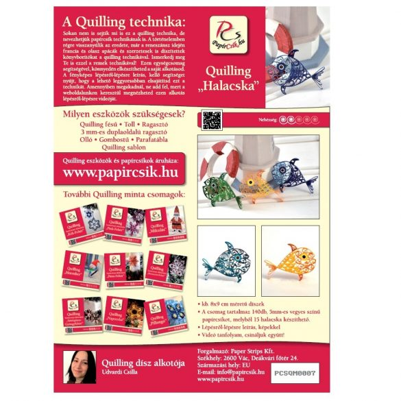 Halacskák - Quilling minta (140db csík 15db mintához és leírás képekkel)