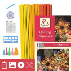 Napocska - Quilling minta (240db csík 8db mintához, leírás, eszközök)