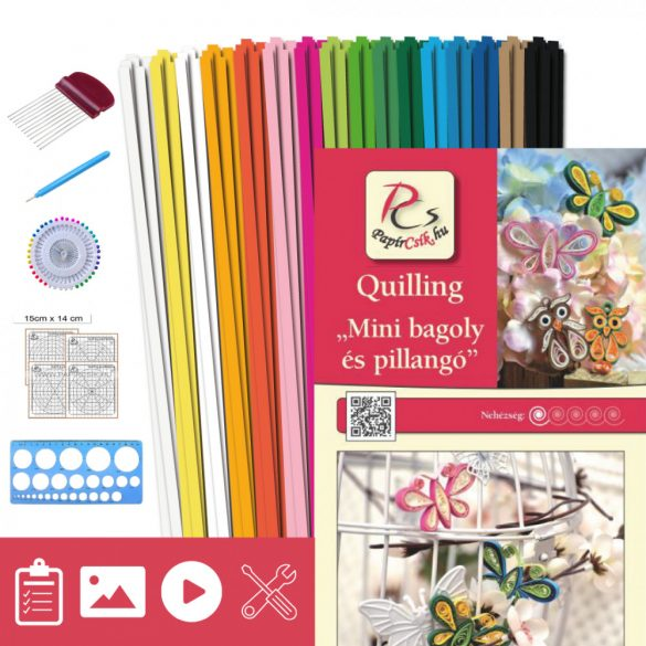 Mini bagoly és pillangó - Quilling minta (180db csík 24db mintához, leírás, eszközök)