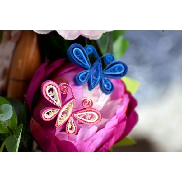 Mini bagoly és pillangó - Quilling minta (180db csík 24db mintához és leírás képekkel)