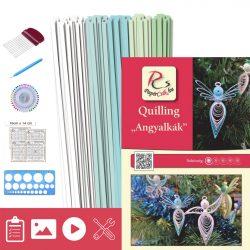 Angyalkák - Quilling minta (130db csík 20db mintához, leírás, eszközök)