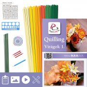 Virágok 1. - Quilling minta (220db csík 8db mintához, leírás, eszközök)
