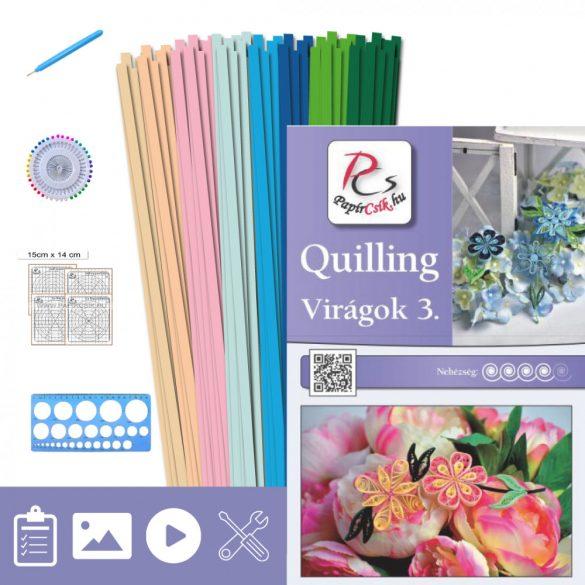 Virágok 3. - Quilling minta (220db csík 20db mintához, leírás, eszközök)