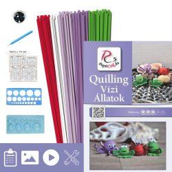 Vízi Állatok - Quilling minta (190db csík 12db mintához, leírás, eszközök)