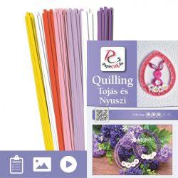 Tojás és Nyuszi - Quilling minta (220db csík 16db mintához és leírás képekkel)