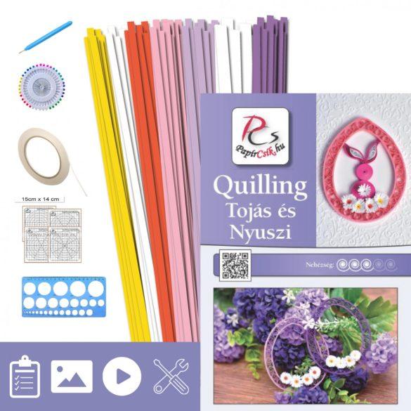 Tojás és Nyuszi - Quilling minta (220db csík 16db mintához, leírás, eszközök)