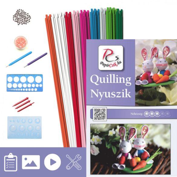 Nyuszik - Quilling minta (200db csík 2db mintához, leírás, eszközök)