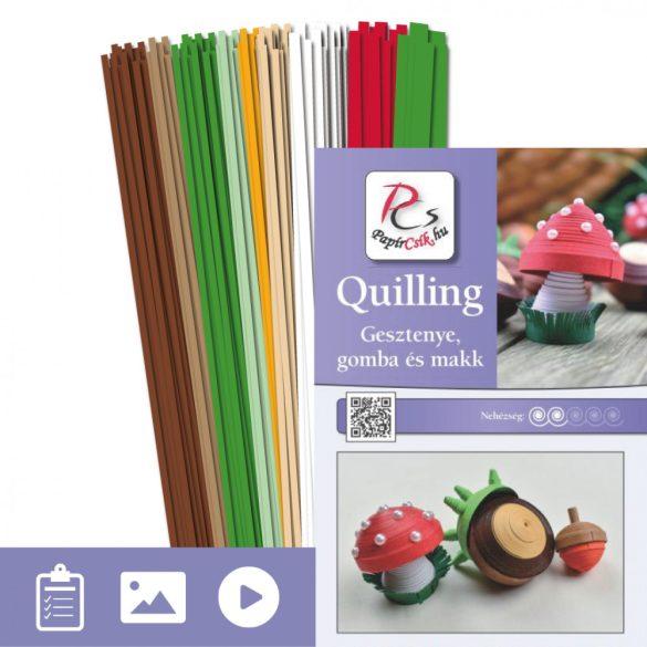 Gesztenye, gomba, makk - Quilling minta (310db csík 30db mintához és leírás)