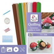 Gesztenye, gomba, makk - Quilling minta (310db csík 30db mintához és leírás, eszközök)