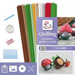 Kastanie, Pilz und Eichel - Quilling Muster (310 Stück Streifen, Beschreibung, Werkzeuge)