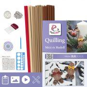 Mézi és Rudolf - Quilling minta (170db csík 5-5db mintához és leírás, eszközök)