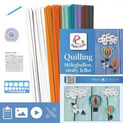 Hőlégballon, sirály, felhő  - Quilling minta (200db csík 20+db mintához és leírás, eszközök)