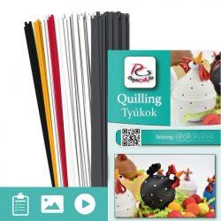 Tyúkok  - Quilling minta (180db csík 4db mintához és leírás képekkel)