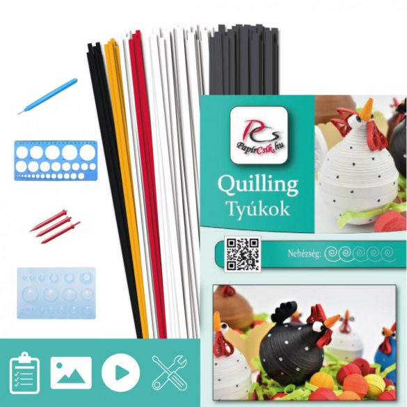 Tyúkok  - Quilling minta (180db csík 4db mintához és leírás, eszközök)