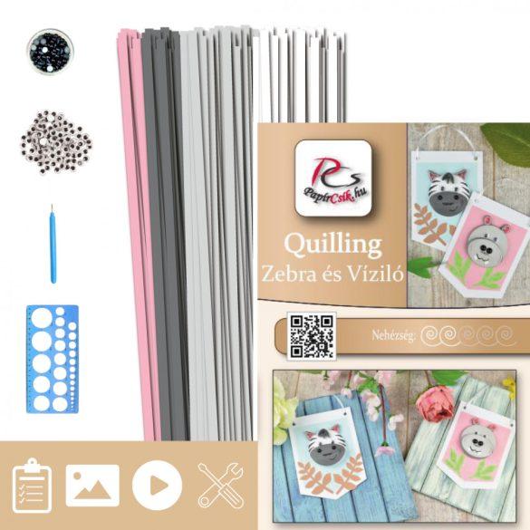 Zebra és Víziló  - Quilling minta (190db csík 4db mintához és leírás, eszközök)
