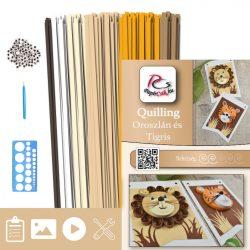 Oroszlán és Tigris  - Quilling minta (230db csík 4db mintához és leírás, eszközök)