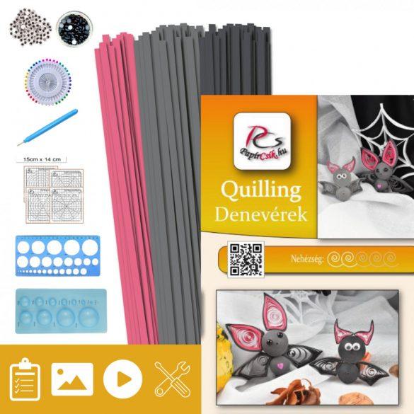 Denevérek  - Quilling minta (200db csík, 5-5db mintához és leírás, eszközök)