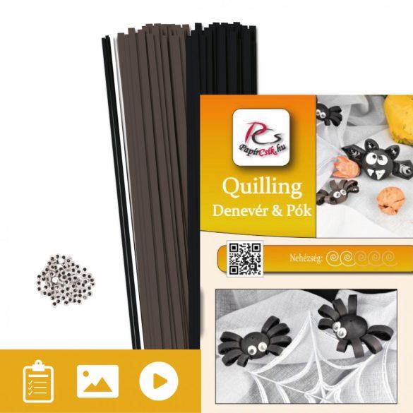 Denevér és pók  - Quilling minta (160db csík, 4-4db mintához és leírás képekkel)