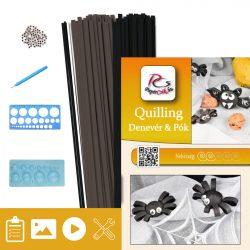 Denevér és pók - Quilling minta (160db csík, 4-4db mintához, leírás, eszközök)