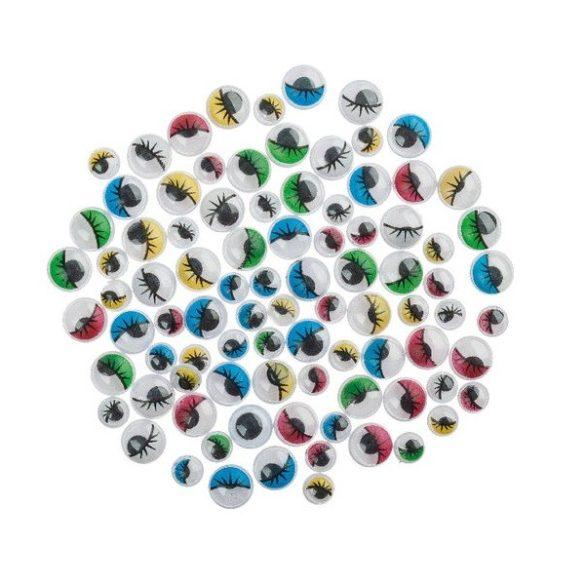 Rezgőszem, kerek, színes, szempillás, 7 mm (10db)