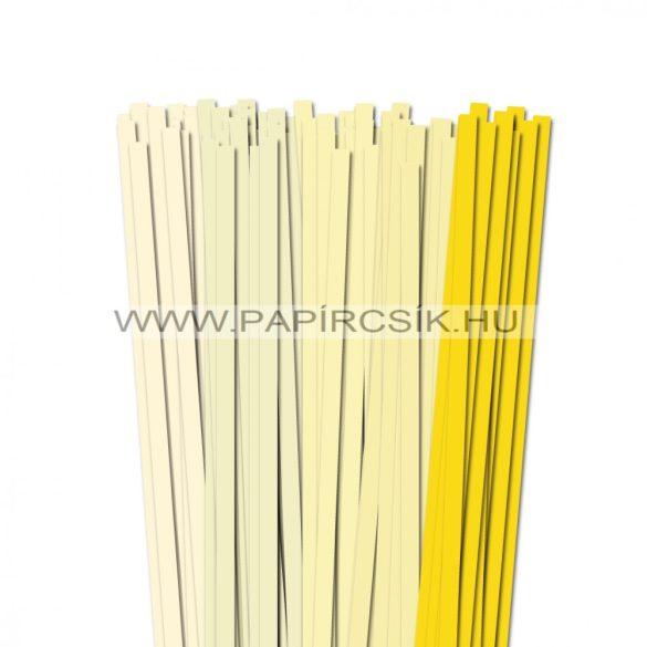 Halványsárga árnyalatok, 10mm-es quilling papírcsík (5x20, 49cm)