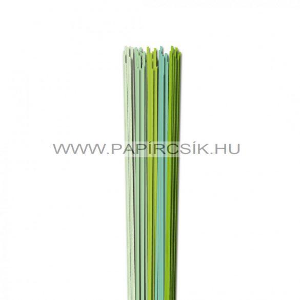 Halványzöld árnyalatok, 2mm-es quilling papírcsík (5x20, 49cm)