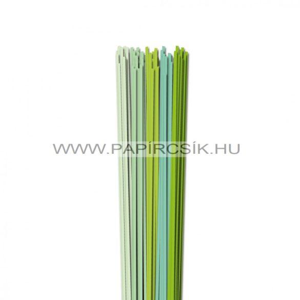 Halványzöld árnyalatok, 3mm-es quilling papírcsík (5x20, 49cm)