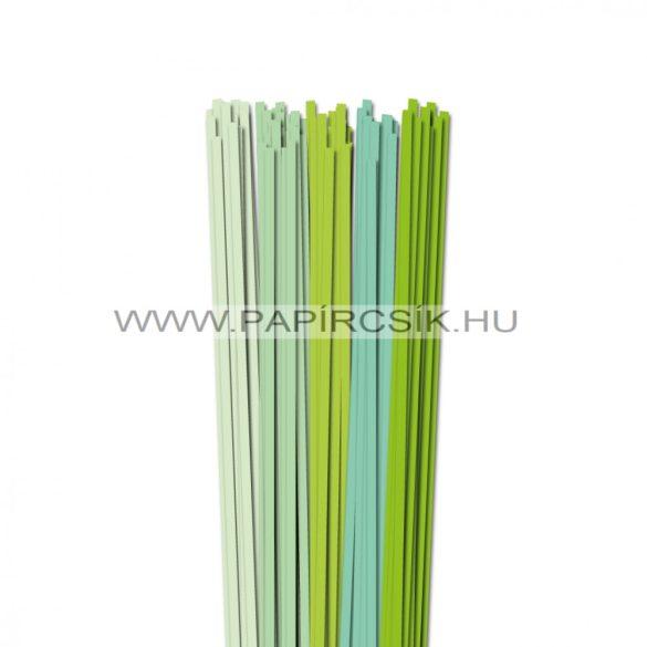 Halványzöld árnyalatok, 5mm-es quilling papírcsík (5x20, 49cm)