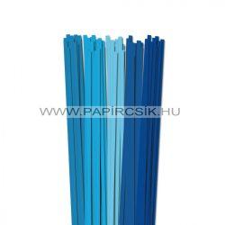 Kék árnyalatok, 6mm-es quilling papírcsík (5x20, 49cm)