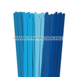 Kék árnyalatok, 10mm-es quilling papírcsík (5x20, 49cm)
