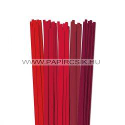 Piros árnyalatok, 7mm-es quilling papírcsík (5x20, 49cm)