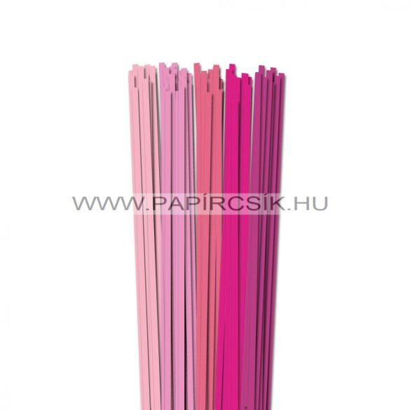Rózsaszín árnyalatok, 5mm-es quilling papírcsík (5x20, 49cm)