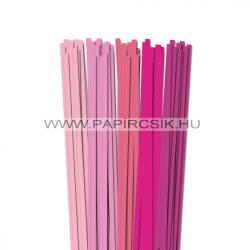 Rózsaszín árnyalatok, 7mm-es quilling papírcsík (5x20, 49cm)