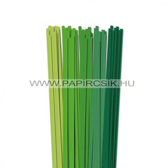 Zöld árnyalatok, 6mm-es quilling papírcsík (5x20, 49cm)