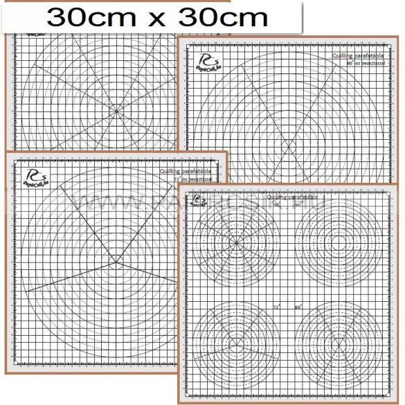 Quilling parafatábla, 4db sablonnal (30x30cm)