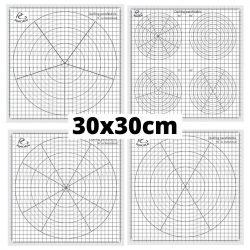 Quilling sablon papír - 30 fokos beosztással (1db, 30x30cm)